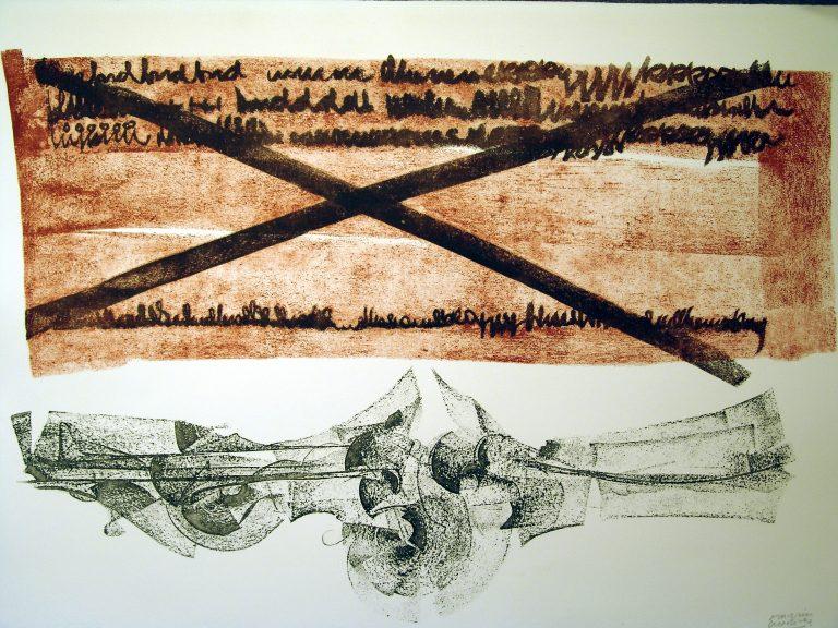 Obra grafica galeria fernandez braso Chirino ESTUDIO PARA ESCULTURA EN PAISAJE