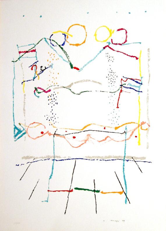 Mompo Fiesta en el campo Serigrafía 65 x 50 c. 1979 galeria Fernandez-Braso
